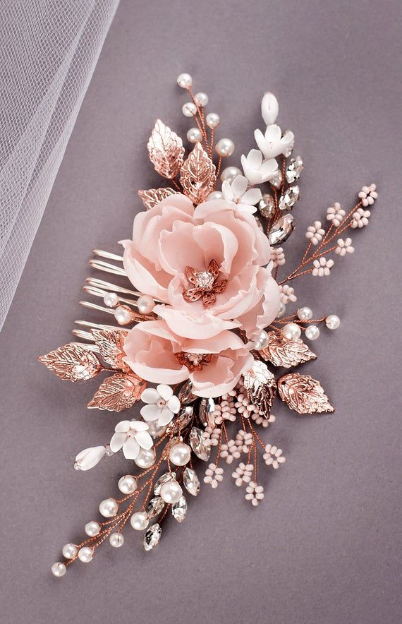 Blush Bridal Headpiece Rose Gold Wedding Hair comb Blush Bridal Flower comb Rose Gold Floral Wedding Headband Blush bridal hair piece