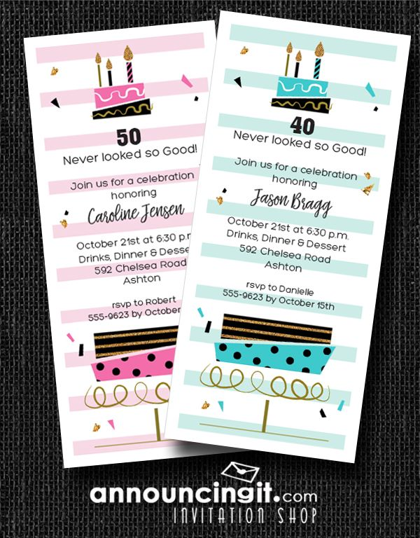 Retro inspired layered birthday cakes with pink or blue icing - invitation wording for candle party