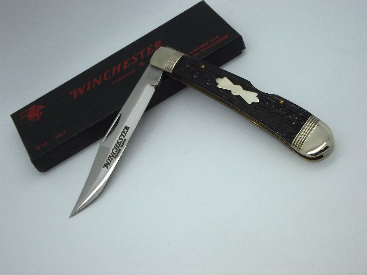 Winchester Knives 1927 Clip Blade Lockback Knife with Black Jigged ...