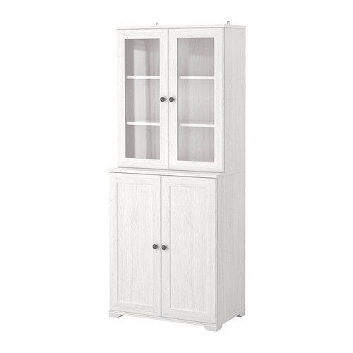 BORGSJÖ Shelf Unit With Panelglass Doors IKEA Storage Idea For - White bookshelves with cabinets