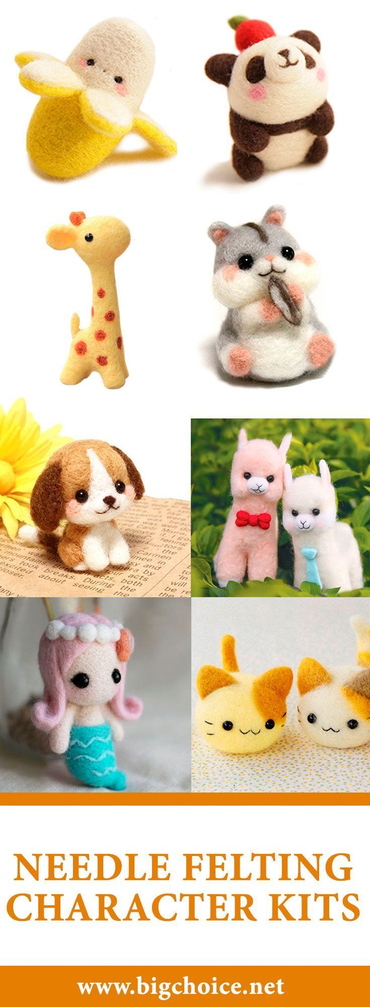 DIY cute pandas, dogs, cats, hamsters, mermaids and other characters using needle felting character kits. #diy #needle #felting #catsdiyideas -  -