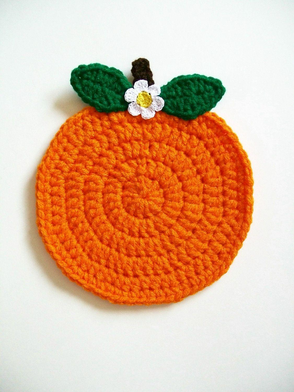 Crochet Orange Fruit Pot Holder Hot Pad Potholder Handmade Kitchen ...