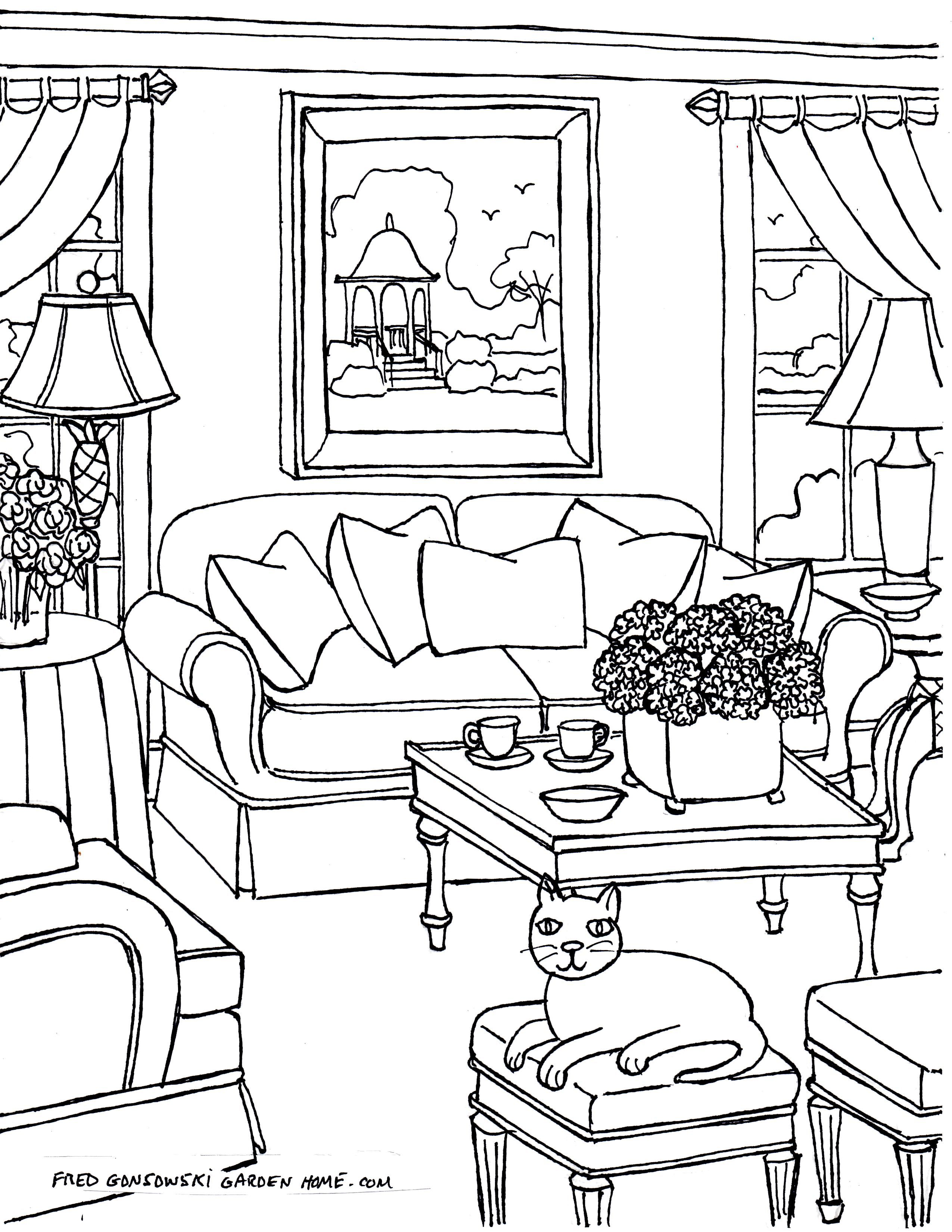 Some Fred Gonsowski drawings of Living Rooms for Adults to