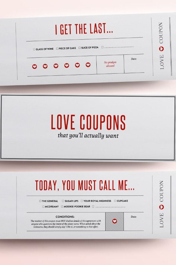 Love coupons for your one and only Valentineu0027s Day Love - printable vouchers