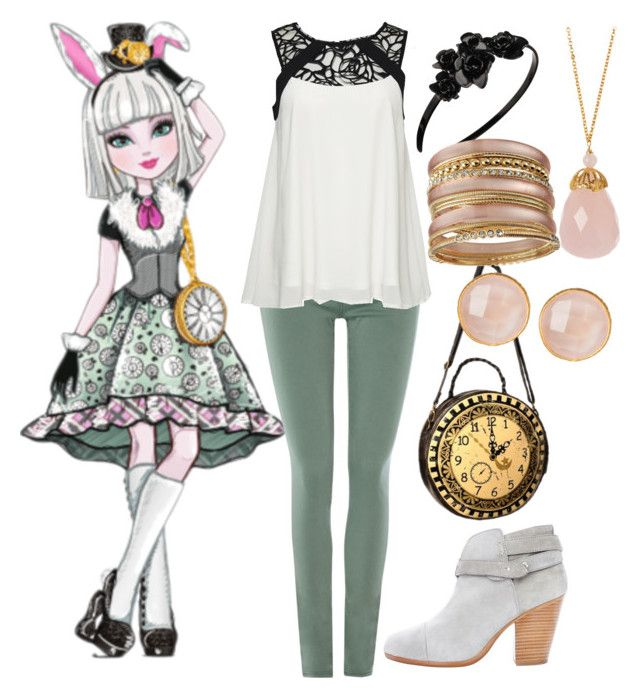 """""""Ever After High Everyday: Bunny Blanc"""" by becka-ramey ❤ liked on Polyvore featuring AG Adriano Goldschmied, ONLY, L. Erickson, Saachi, R.J. Graziano and rag & bone"""