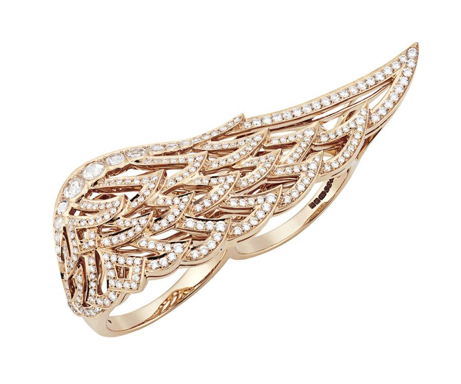 Garrard Rose Gold Across The Finger Ring From The 10th Anniversary Wings Collection Rose Gold Jewelry Feather Jewelry Rose Gold