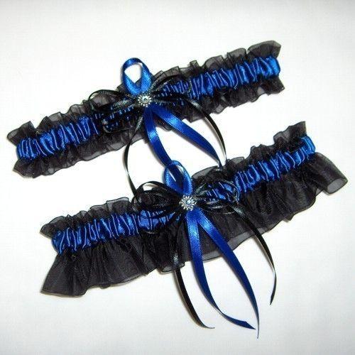 Black and Royal Blue Rhinestone Wedding Garter Set   Blue wedding ...