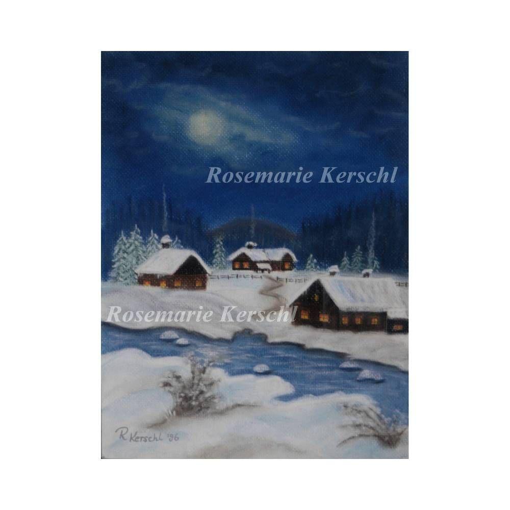 Winternacht Pastellkreidebild Handgemalte Landschaft 30 X 24 Cm In