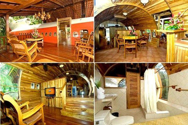 Interior del boeing 727, dos habitaciones, un baño, cocina y comedor, estilo e innovación.