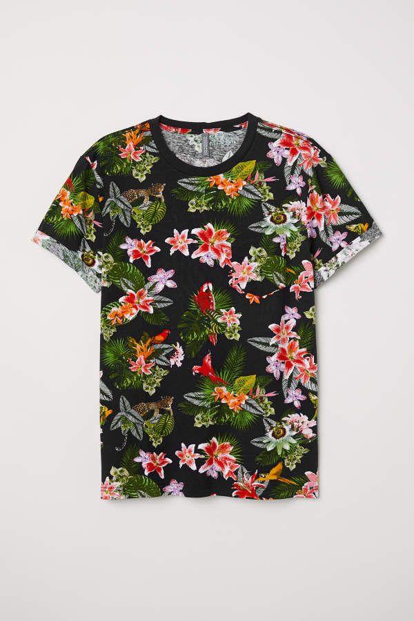 58add0234288 H&M H & M - T-shirt with Chest Pocket - Black/leopards - Men ...