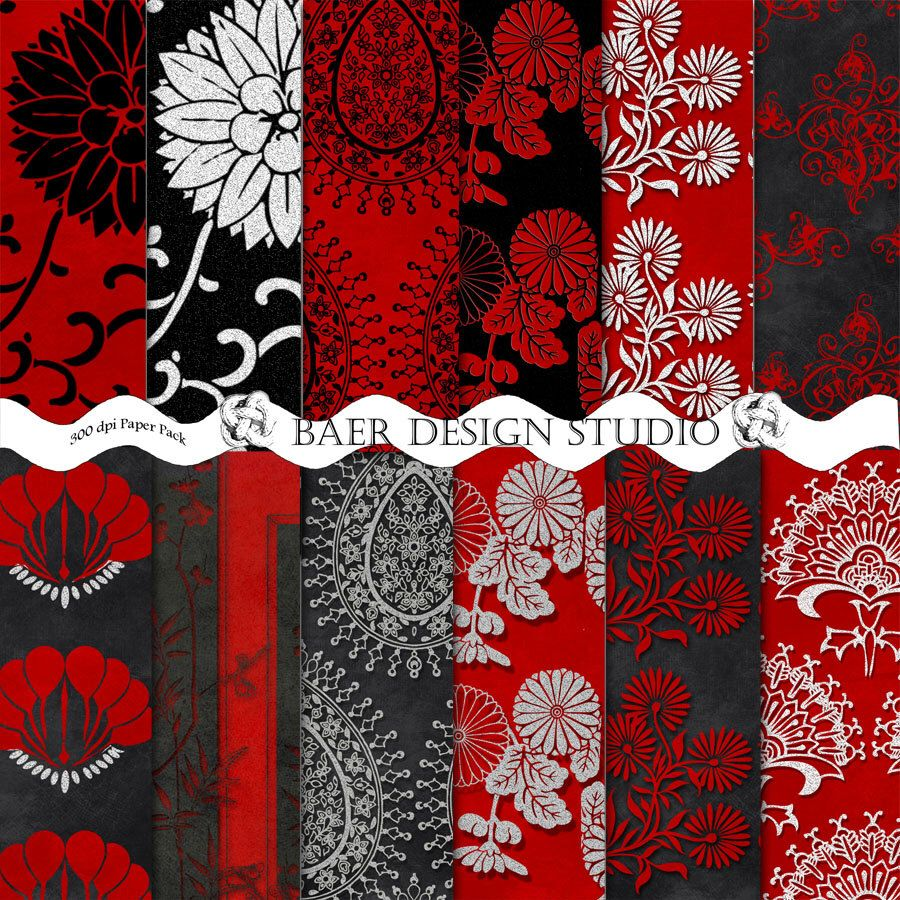 Scrapbook paper etsy - Asian Digital Paper In Red Silver And Black Red Chinese Wedding Paper Red