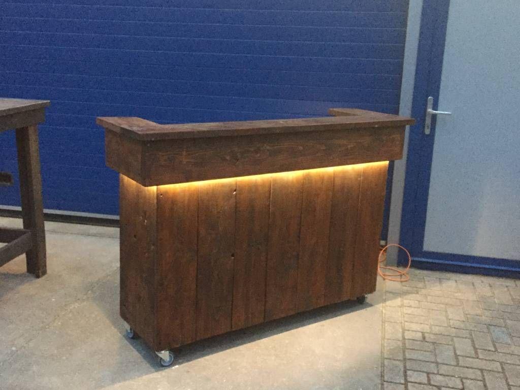 Bar / Balie van steigerhout met LED verlichting   Winkel Interieur ...