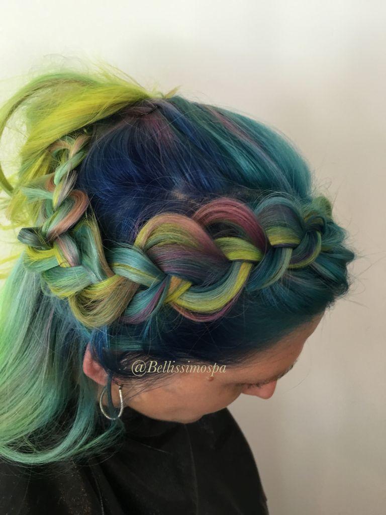 Vivids Hair Yellow Green Blue And Teal Hair Color Melt
