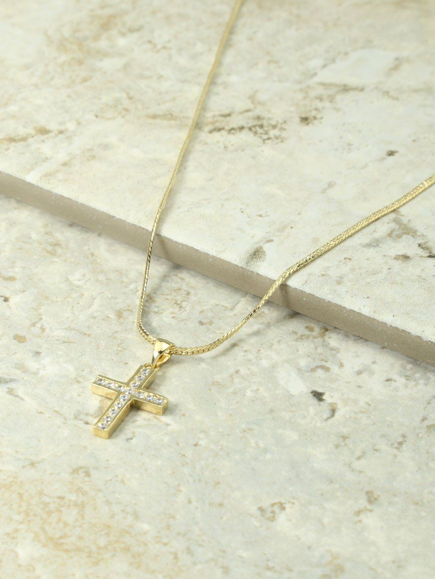 The Marcella Gold & Crystal Cross Charm Necklace in Metallic Gold Vanessa Mooney XrKfTRr