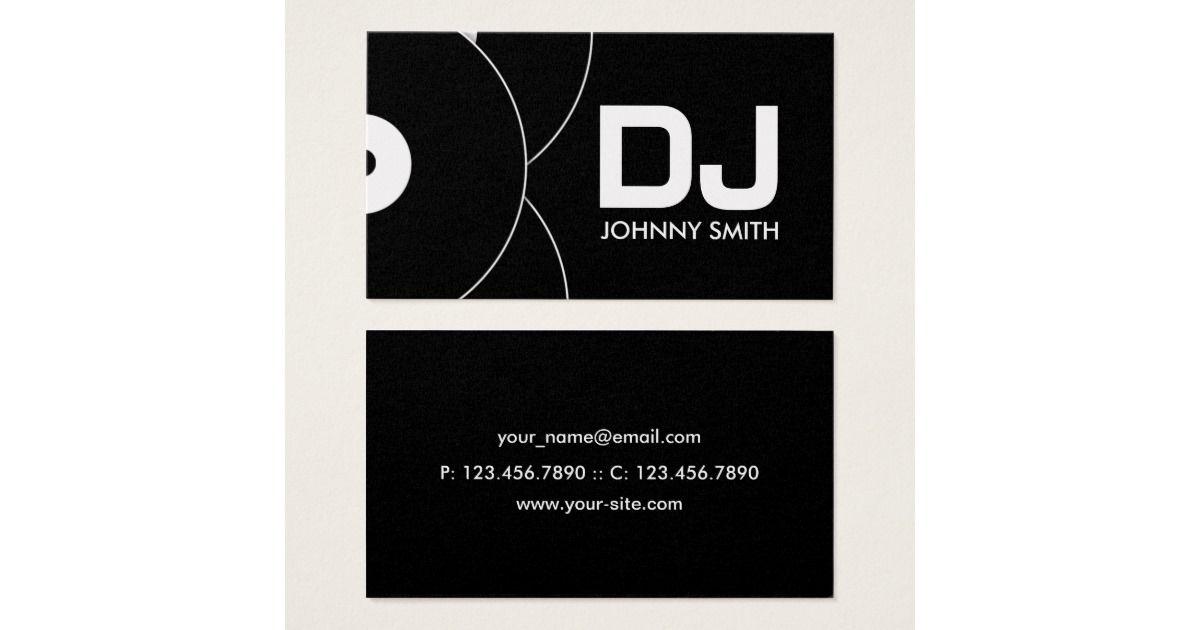DJ Vinyl Record Music Business Card | Business cards, Dj logo and ...