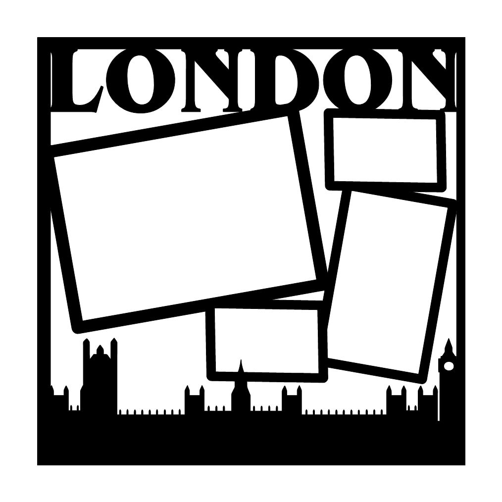 London England Scrapbooking Die Cut Overlay