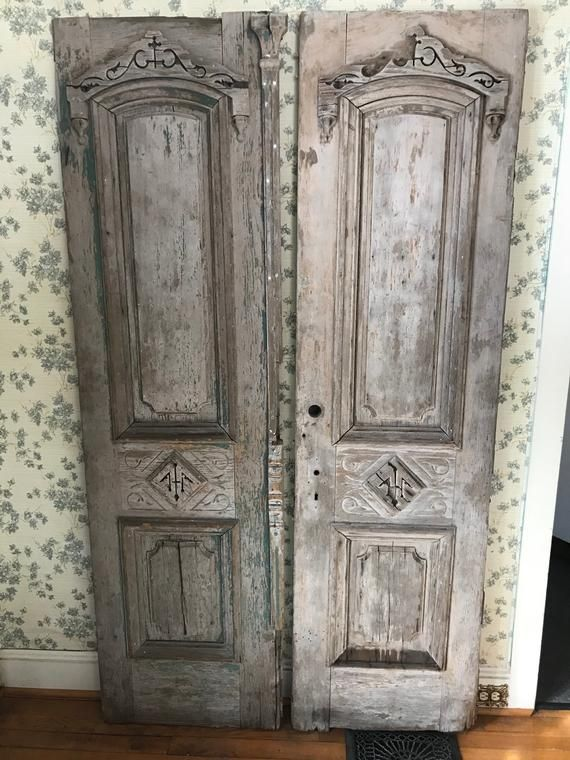 Antique Architectural Salvage Pair Of Carved Wood French Doors Naturally Weathered And Antique Architectural Salvage Architectural Antiques Wood French Doors