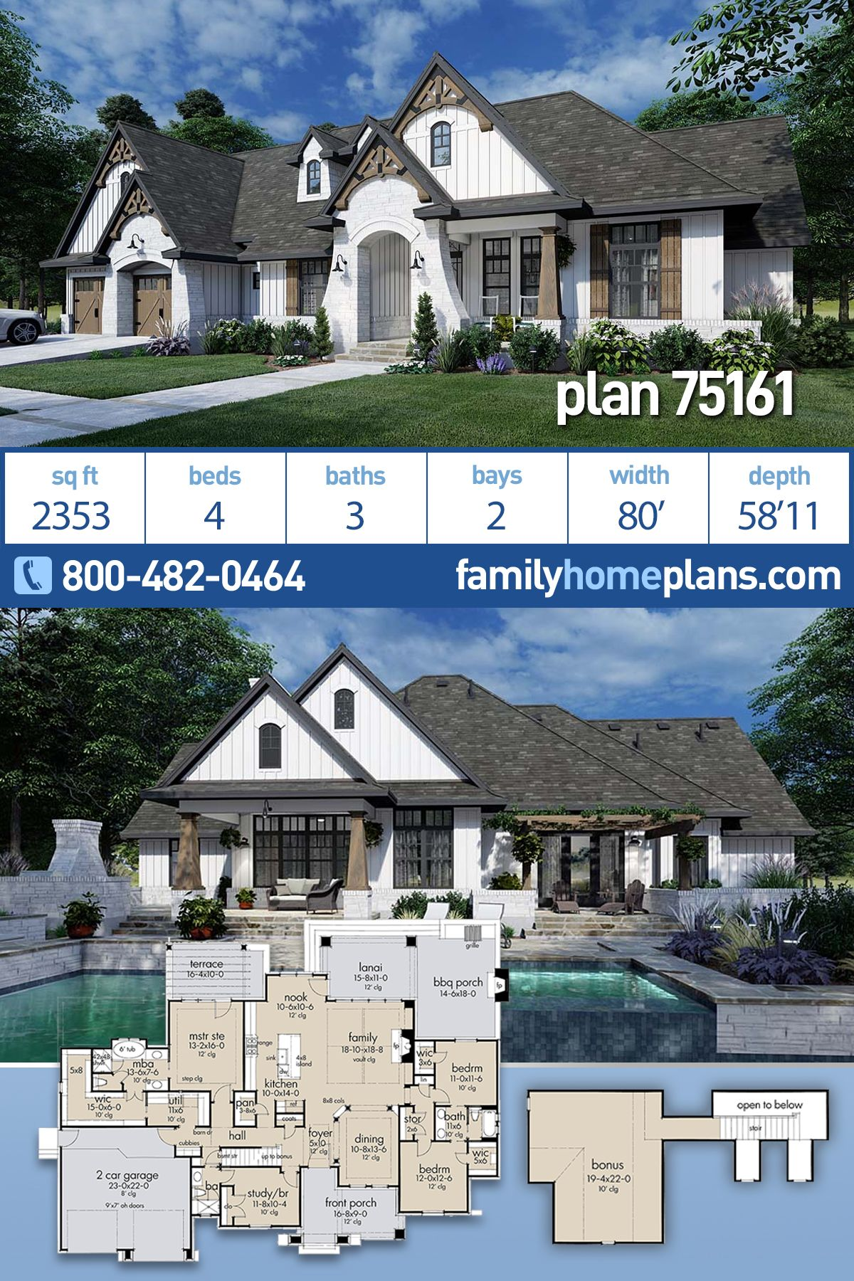 Traditional Style House Plan 75161 With 4 Bed 3 Bath 2 Car Garage Farmhouse Plans Modern Farmhouse Plans Family House Plans