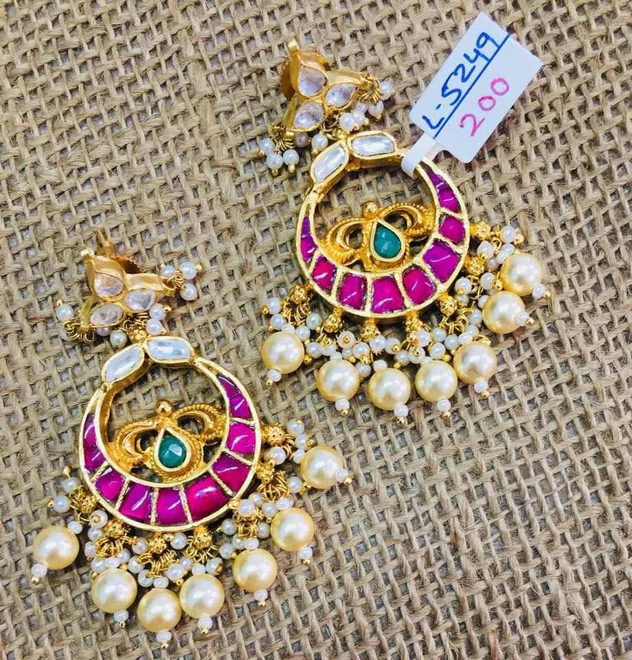 beautiful one gram gold chaandbali studded with white and