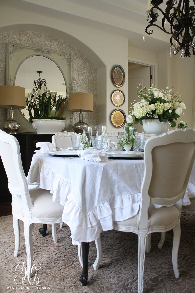 White Easter Tablescape. Ruffled TableclothEaster ...