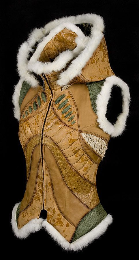 Pagan Vests Wicca Witch: Leather and fur #vest.