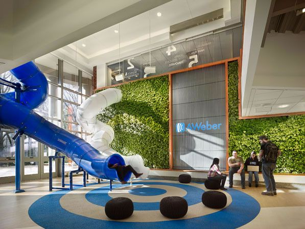 AWeber email service company created plant wall to increase oxygen level in bldg. Did a lot of cool things to conserve energy & water.