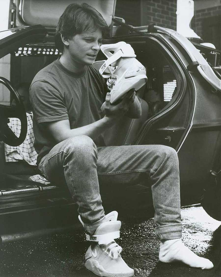 Michael J. Fox with his Nike Air MAG on