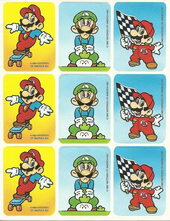 Vintage 80s super mario brothers skateboard sticker sheet version 4