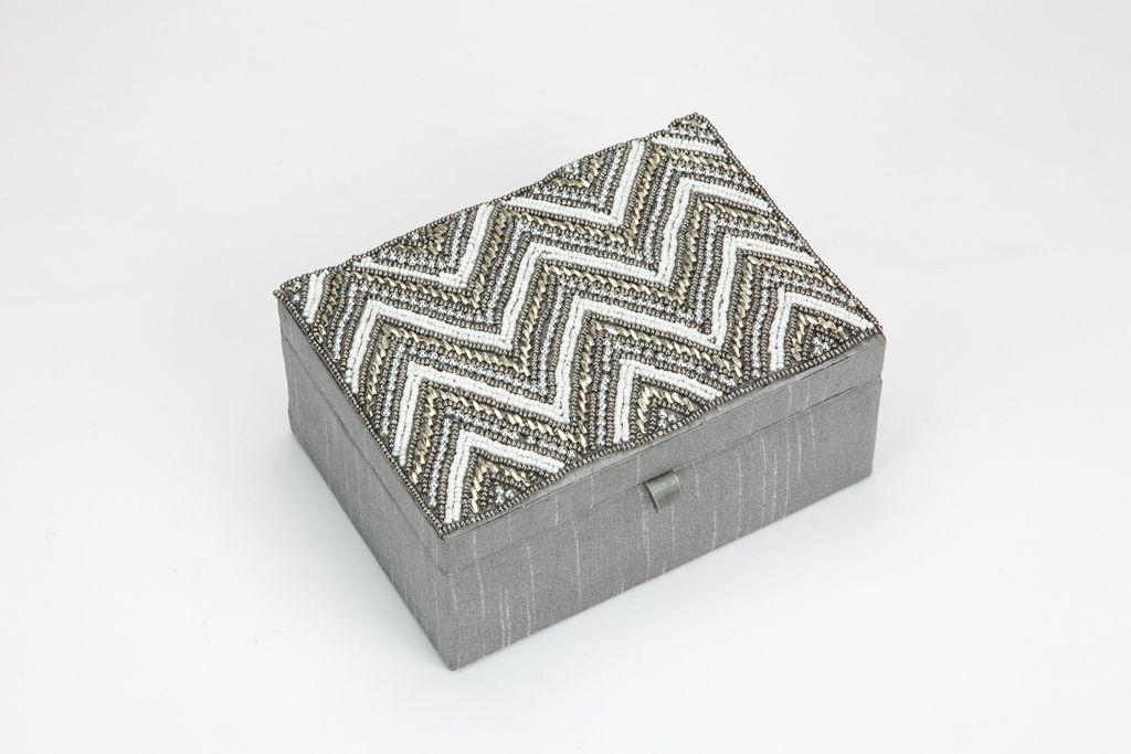 Caixa Ziguezague Dourado, Branco e Cinza 18 x 13 cm | A Loja do Gato Preto | #alojadogatopreto | #shoponline | referência 105667126