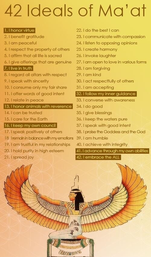 42 Ideals of Ma'at - The Egyptian Goddess of Justice. Cop tattoo possibilities...This is just plain awesome!