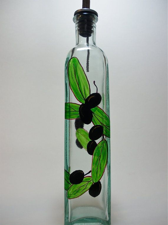 Olive Oil Bottle Recycled Glass Hand Painted With Black Olives Olive Oil Bottles Glass Bottle Crafts Painted Glass Vases