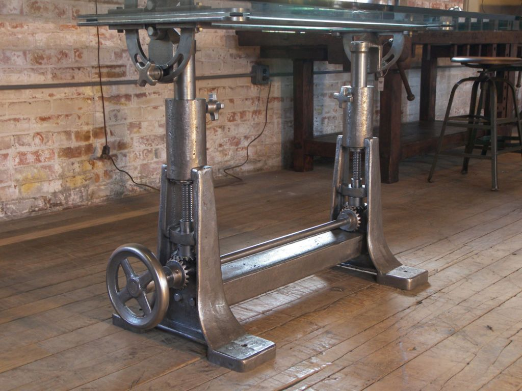 Vintage industrial cast iron glass adjustable desk for Old iron table legs