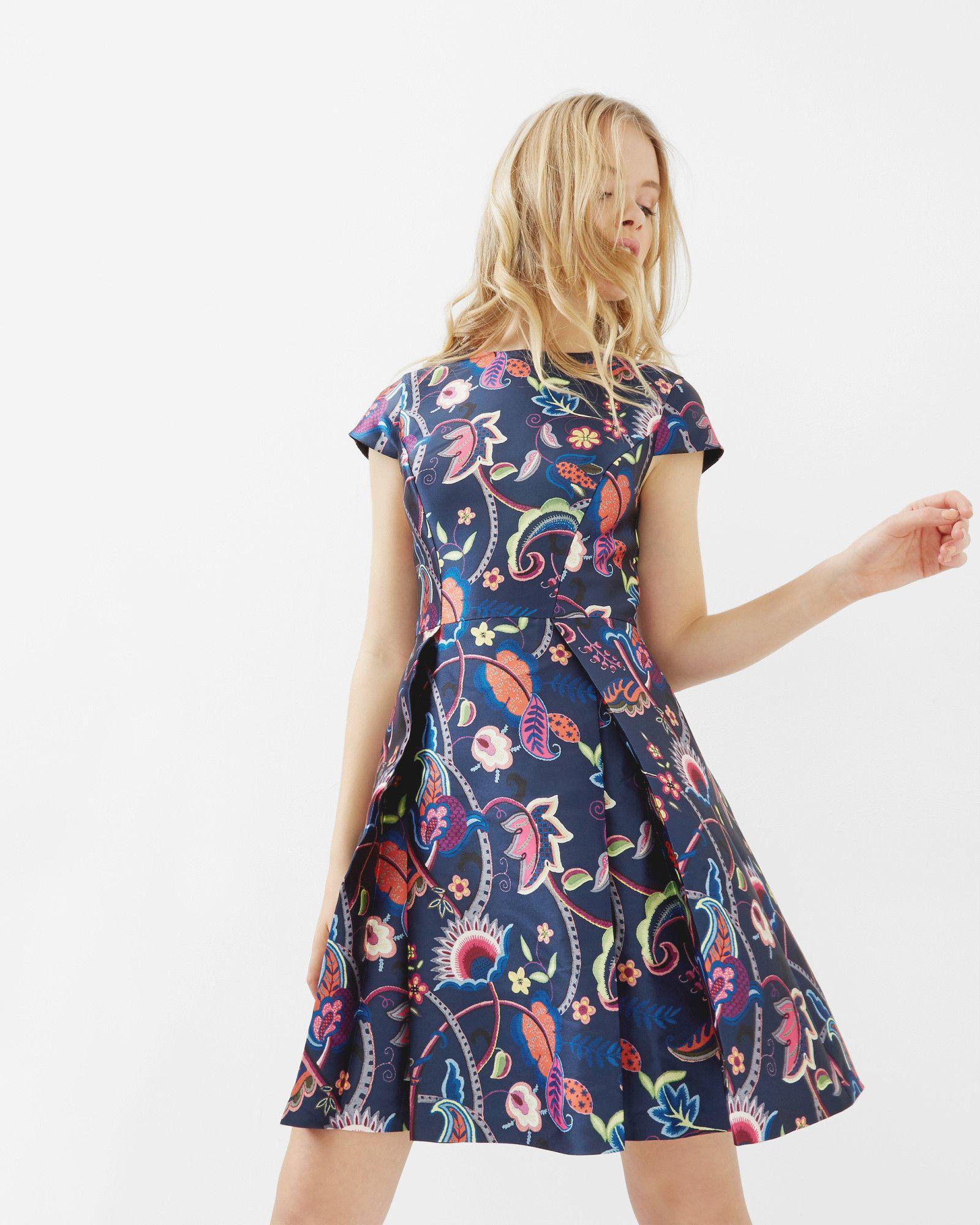 Folk Foliage skater dress - Dark Blue   Dresses   Ted Baker ...