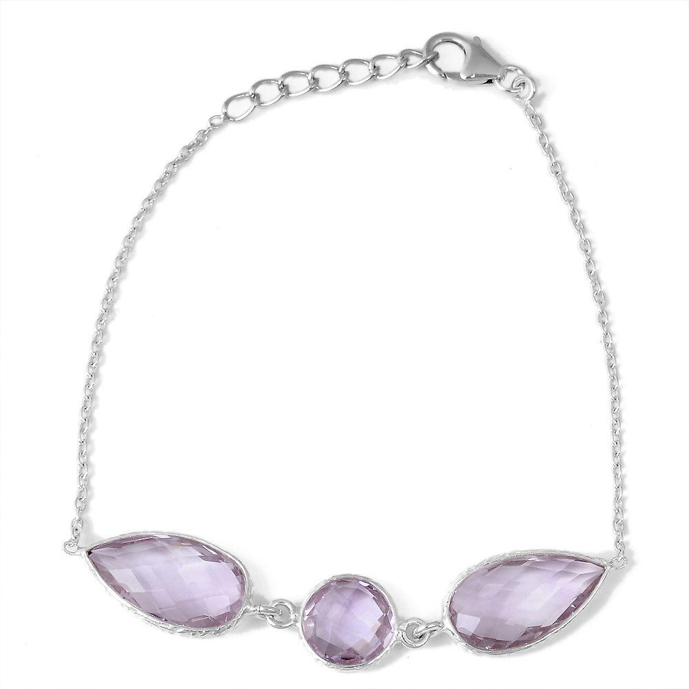 Orchid Jewelry 925 Sterling Silver 15.15ct TGW Genuine Amethyst Bracelet