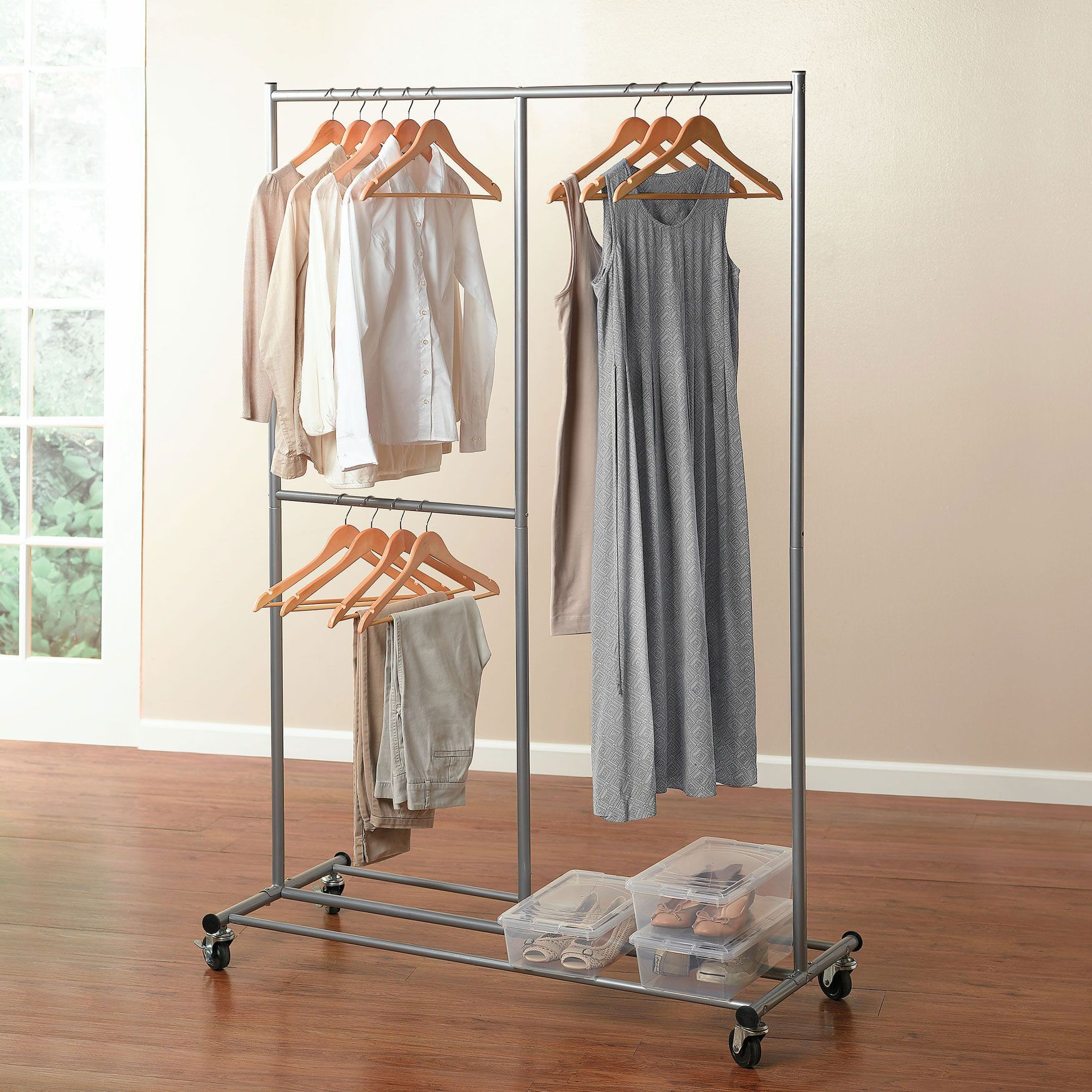 Portable And Expandable Garment Rack In Black Chrome 18 Months Alluring Jumbo Rolling Garment Rack  Closet  Brylanehome  Organizing My