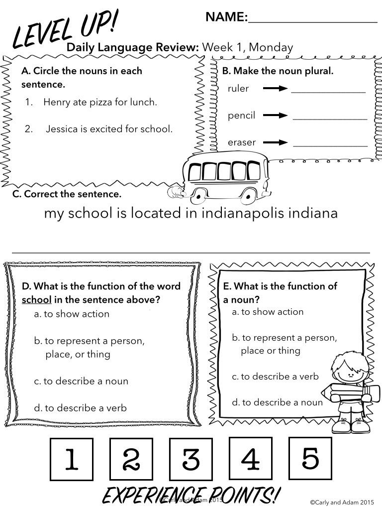 3rd Grade Daily Language Review: ENTIRE YEAR   Language, Bell work ...