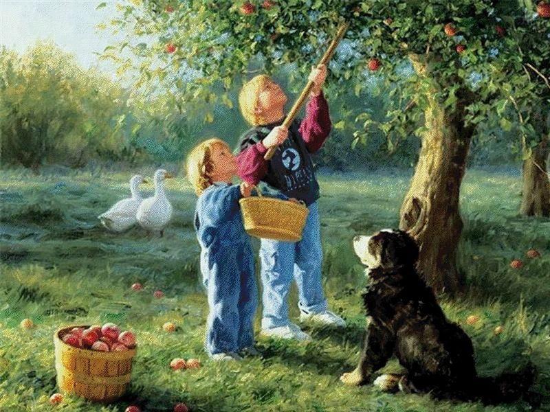 Picking apples by Robert Duncan
