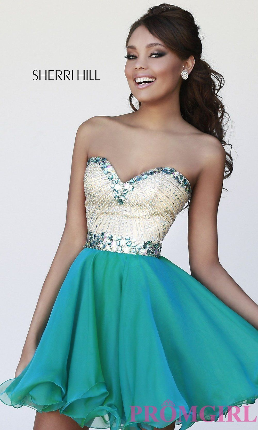 This elegant jade/green strapless Sherri Hill 1929 dress is a short/mini  dress featuring a strapless. To decorate, this dress is complimented with  beaded, ...