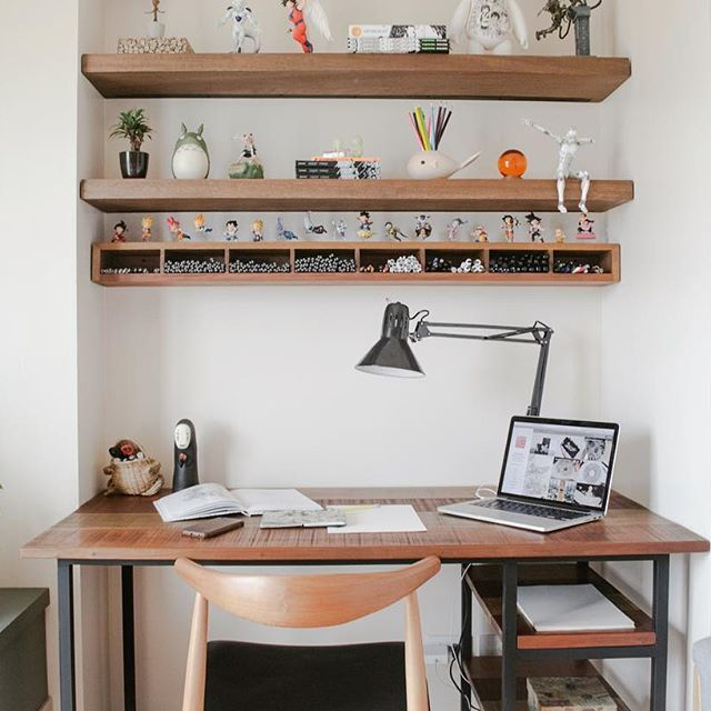 My New Home Office Set Up Featuring Hiraya Custom Working Desk Floating Shelves And The Super Cool Pen Holder Organizer Thanks For All The H Desk Work Desk Office Set
