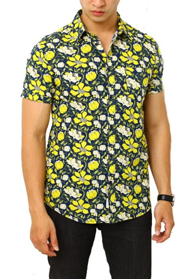 Edberth Shop Kemeja Pria Motif Bunga Multicolor Kemeja Pria Kemeja
