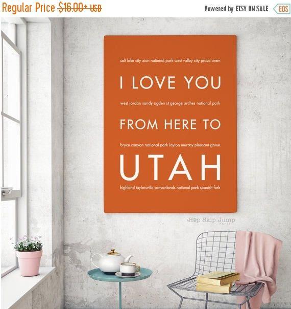Beau Easter SALE Utah Home Decor, Salt Lake City Art Print, Utah Gift, I
