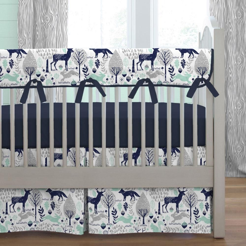 Navy And Mint Woodlands Crib Bedding Baby Crib Sets Woodland Crib Bedding Boys Crib Bedding Sets