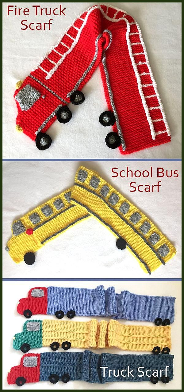 Knitting Patterns for Fire Truck Scarf School Bus Scarf and Trailer Truck Scarf Individual patterns in garter stitch shaped and embellished to loo Knitting Patterns for F...