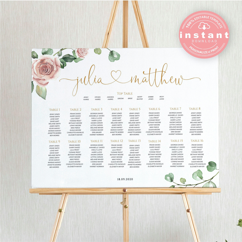 Pink Wedding Seating Chart Template Printable Boho Blush