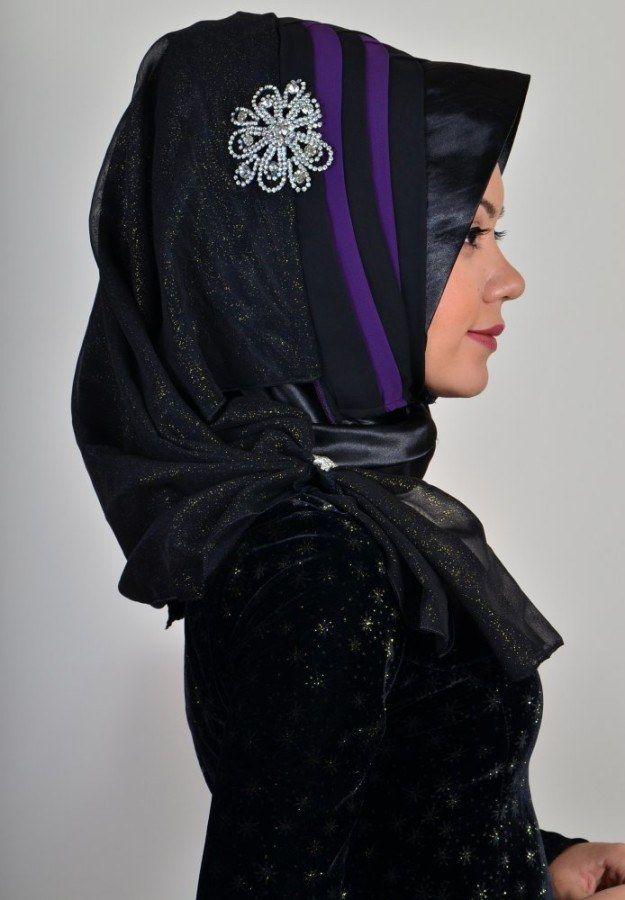 Photo of Aişe Hijab – Black Plum Draped Ready Made Scarf