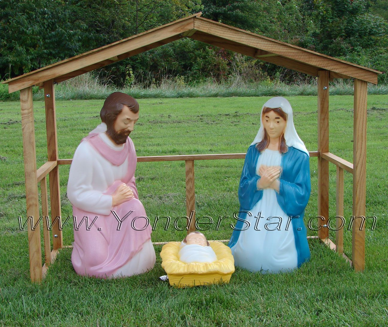 Lighted Outdoor Nativity Scene With Stable Christmas