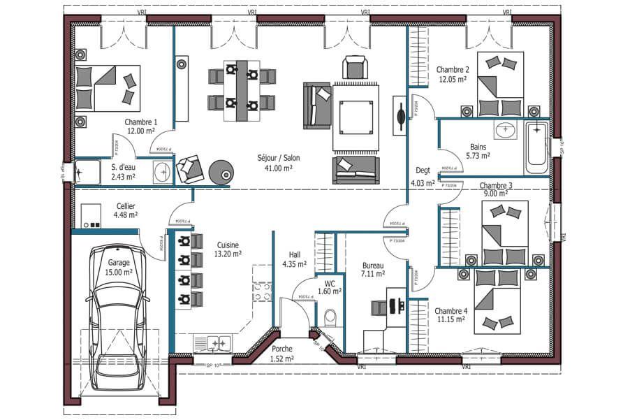 Modèle Aurore -- Plan maison plain pied de 4 chambres avec garage - modele plan maison plain pied gratuit