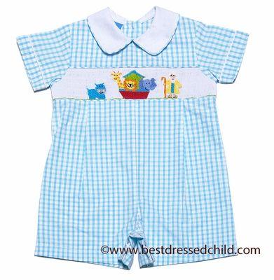e412e87a1 Anavini Infant Boys Turquoise Check Seersucker Smocked Noah's Ark Romper