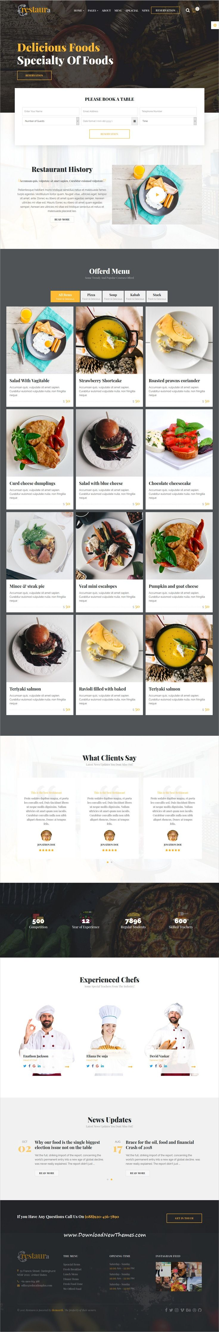 Restaurant HTML Restaura for Restaurant Food