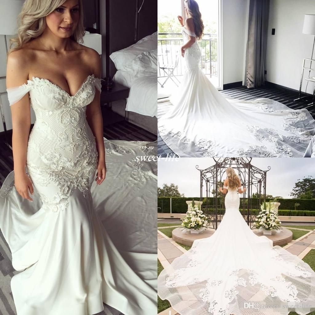 New Design Off Shoulder Mermaid Wedding Dresses Pearls Backless ...